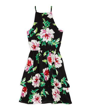 AQUA - Girls' Floral Tiered Dress, Big Kid - 100% Exclusive