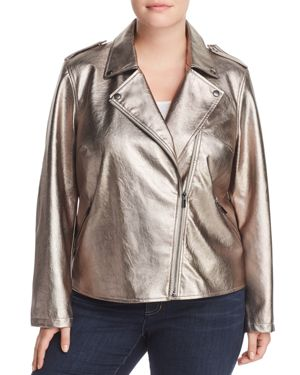 Bagatelle Plus Metallic Faux Leather Moto Jacket