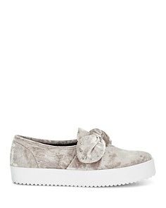 Rebecca Minkoff - Women's Stacey Velvet Studded Bow Slip-On Sneakers