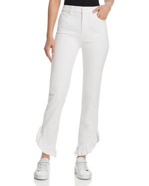 Paige Hoxton Straight Ruffle-Detail Ankle Jeans in Crisp White 2806134