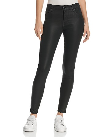 $7 For All Mankind The Ankle Coated Skinny Jeans in Bottle Green - Bloomingdale's