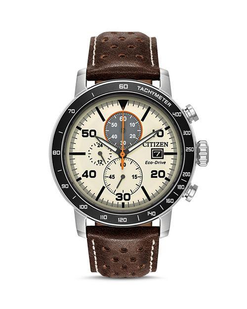 Citizen - Men's Leather Strap Watch, 44mm