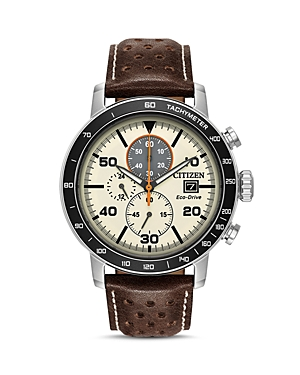 Citizen Men's Leather Strap Watch, 44mm