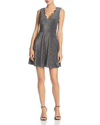 AQUA - Metallic Scalloped Fit-and-Flare Dress - 100% Exclusive