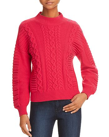 KAREN MILLEN - Chunky Grommeted Cable-Knit Sweater