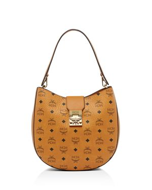 Patricia Visetos Large Coated Canvas Hobo - Brown, Cognac Brown/Gold