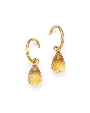 Bloomingdale's - Citrine Briolette Hoop Drop Earrings in 14K Yellow Gold - 100% Exclusive