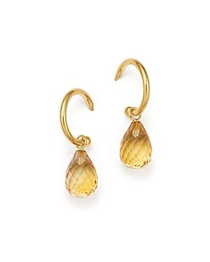 Citrine Briolette Hoop Drop Earrings in 14K Yellow Gold