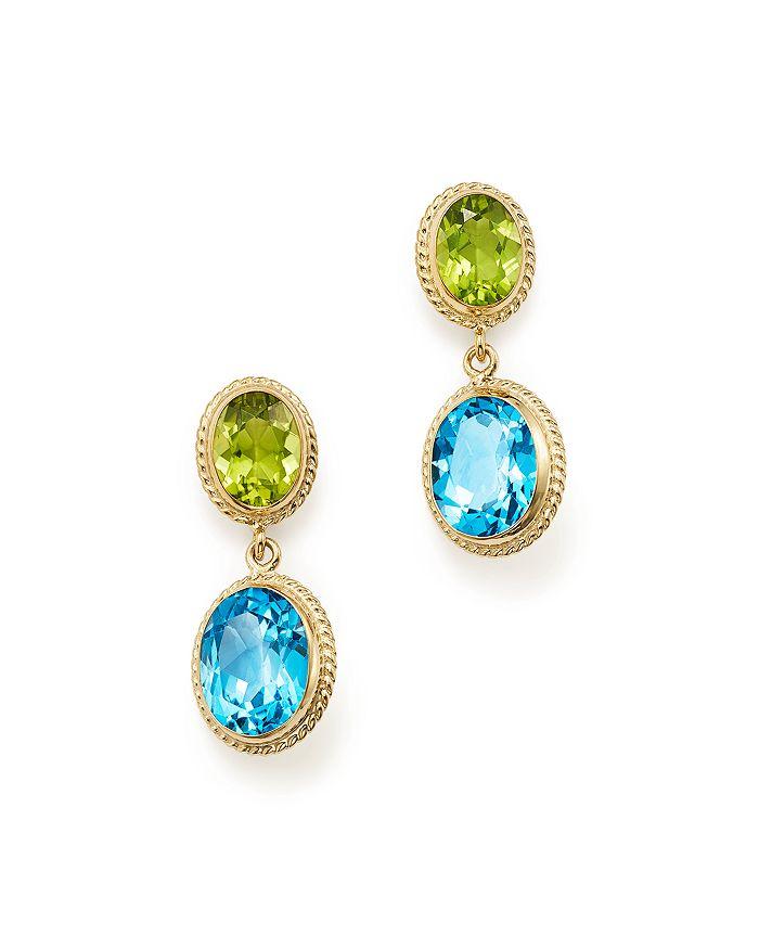 Bloomingdale's - Blue Topaz & Peridot Drop Earrings in 14K Yellow Gold - 100% Exclusive