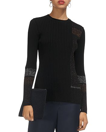 Whistles - Ali Sparkling-Detail Ribbed-Knit Sweater
