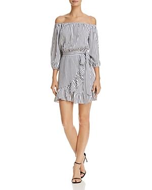 Aqua Striped Off-the-Shoulder Faux-Wrap Dress - 100% Exclusive