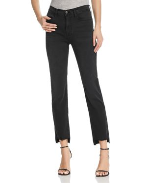 Frame Le High Straight Raw-Edge Stagger Jeans in Mallard