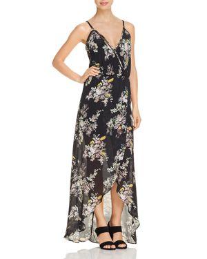 KARINA GRIMALDI Briana Crossover Floral-Print Maxi Dress in Black Garden