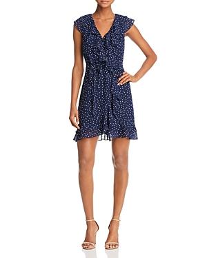 Bardot Polka Dot Faux-Wrap Dress