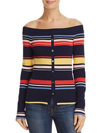 ecae35cda84 FRAME - Striped Off-the-Shoulder Sweater