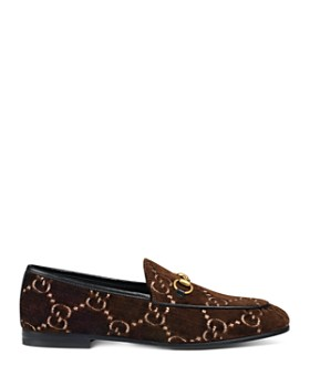 Gucci - Women's New Jordaan Velvet Logo Loafers