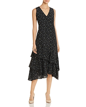 Lafayette 148 New York Taurina Silk Ruffle Midi Dress