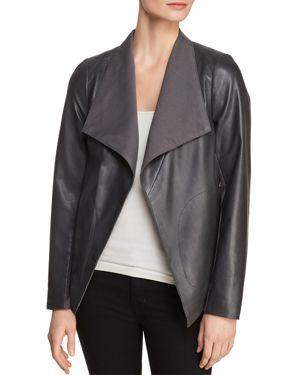 Donna Karan New York Icons Leather Drape-Front Jacket
