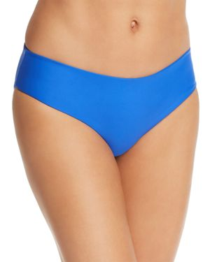 MIKOH Cruz Bay Low-Rise Hipster Solid Swim Bikini Bottoms in Blue