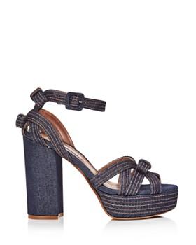 Tabitha Simmons - Women's Goldy Denim Platform High heel Sandals