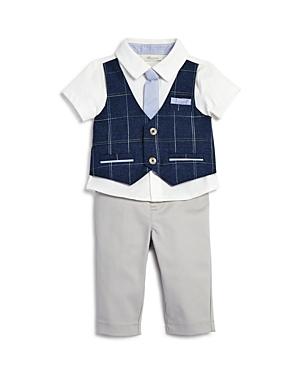 Miniclasix Boys PlaidMockVest Shirt with Tie  Pants  Baby