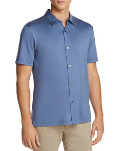 Theory Incisive Knit Short Sleeve Button-Down Shirt - Bloomingdale's_0