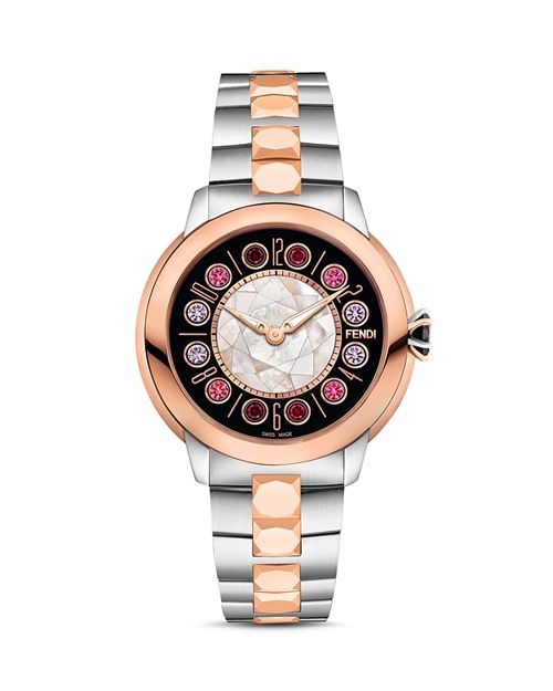 Fendi - IShine Rotating Gemstones Two-Tone Watch, 33mm