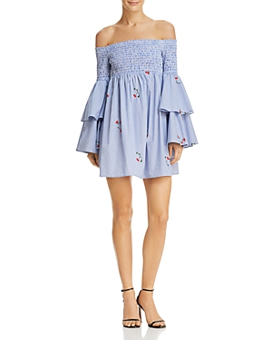Aqua Striped Poplin Off-the-Shoulder Ruffle Sleeve Dress - 100% Exclusive