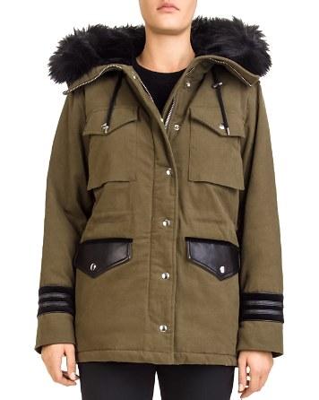 $The Kooples Faux-Fur-Trimmed Twill Parka - Bloomingdale's