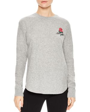 Sandro Glen Rose-Embroidered Wool Sweater
