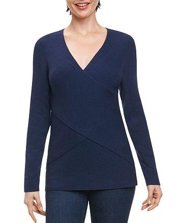 Foxcroft - Ribbed Crisscross Sweater