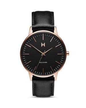 MVMT Boulevard Leather Strap Watch, 38Mm in Black/ Rose Gold