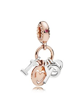 Pandora - Sterling Silver & Cubic Zirconia I Love You Rose Dangle Charm