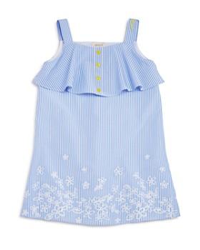 Armani Junior - Girls' Striped Embroidered Poplin Dress - Big Kid