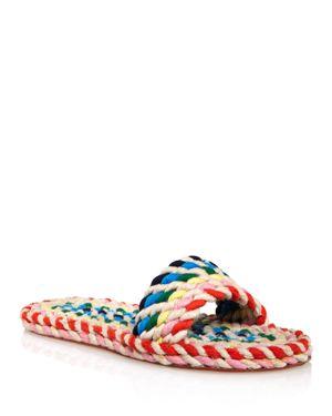 LOEFFLER RANDALL Women'S Elle Woven Rainbow Slide Sandals in Red