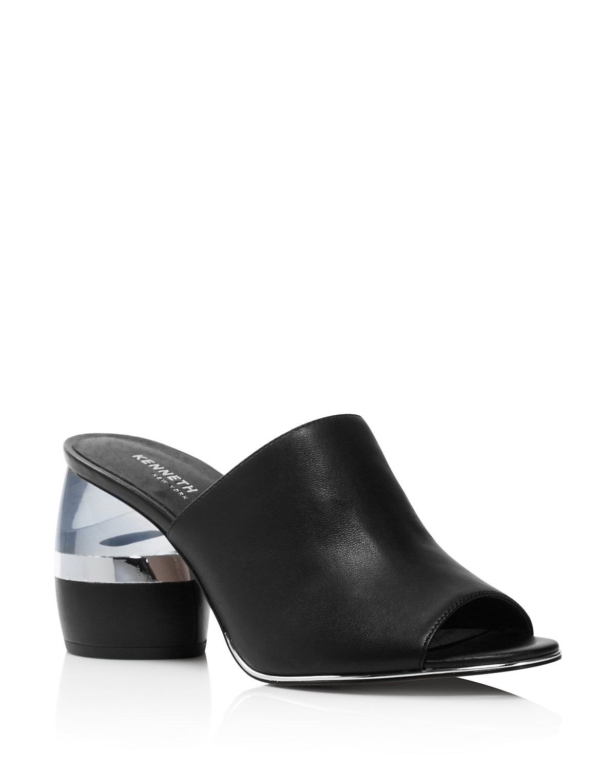 Kenneth Cole Women's Louise Leather & Lucite Heel Mules - 100% Exclusive JZRpQ2dg50