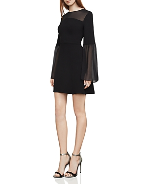Bcbgmaxazria Finley Sheer-Detail Bell Sleeve Dress