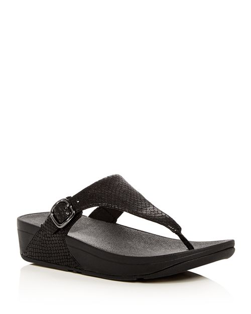 FitFlop - Women's The Skinny Snake Embossed Leather Platform Thong Sandals