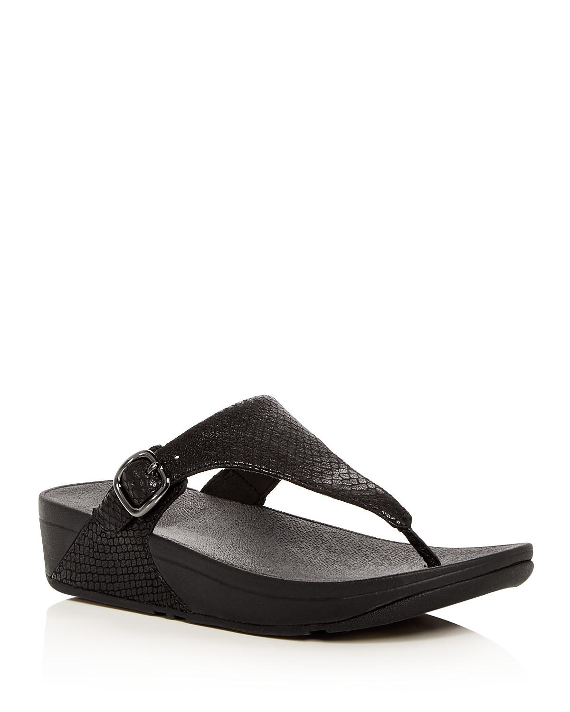FitFlop Women's The Skinny Snake Embossed Leather Platform Thong Sandals 741LUPJRek
