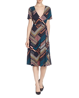 Catherine Catherine Malandrino Printed Faux-Wrap Dress