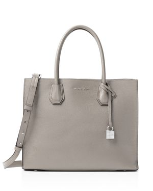 Michael Kors Pearl Grey Mercer Accordion Leather Tote Bag, Pearl Gray/Gold