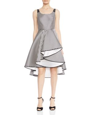 Halston Heritage Striped Ruffled Asymmetric Dress 2825450