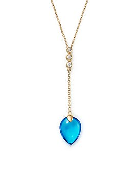 """Bloomingdale's - Swiss Blue Topaz with Diamond Accents Pendant Necklace in 14K Yellow Gold, 16"""" - 100% Exclusive"""