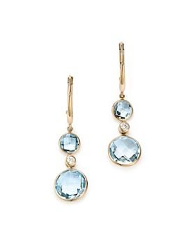 Olivia B - 14K Yellow Gold Sky Blue Topaz & Diamond Bezel Drop Earrings - 100% Exclusive