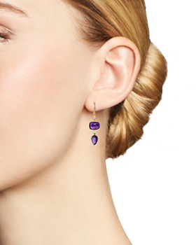 Olivia B - 14K Yellow Gold Tiered Amethyst Cabochon & Diamond Drop Earrings - 100% Exclusive