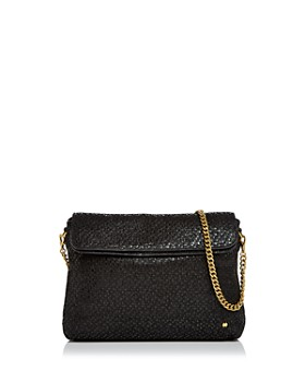 HALSTON HERITAGE - Tina Double Flap Convertible Leather Clutch