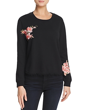 Ella Moss Roseanna Embroidered Fringed-Hem Sweatshirt