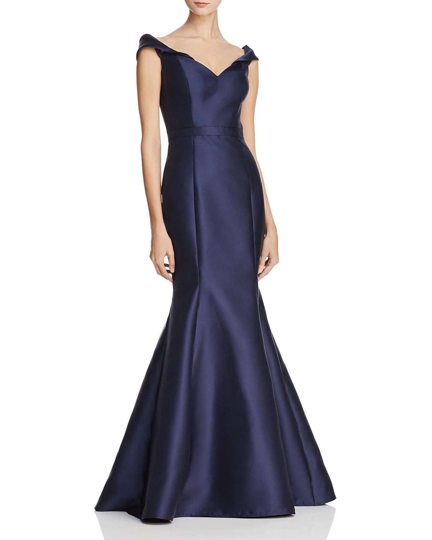 Aqua Mikado Off The Shoulder Gown 100 Exclusive Bloomingdales