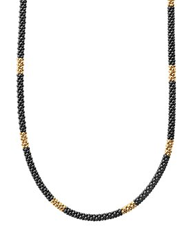 """LAGOS - Gold & Black Caviar Collection 18K Gold & Ceramic Long Station Necklace, 16"""""""