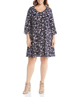 Karen Kane Plus V-Neck Floral Print Dress